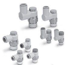 Прямой/угловой пневмодроссель с обратным клапаном AS1201F-4201F, AS1301F-4301F 5fc87bd868ad1